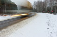 Motion blur of a speedy truck Royalty Free Stock Images