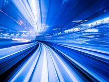 Motion blur train moving in city rail tunnel. Motion blur background abstract Stock Photography