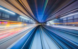 Motion blur of train moving in Tokyo, Japan stock photography