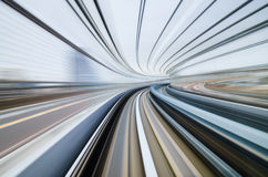 Motion blur of train moving in Tokyo, Japan Stock Photos