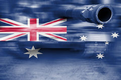 Motion blur War tank with blending  Australia flag Royalty Free Stock Photo