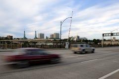 Motion blured cars on drawbridge Royalty Free Stock Image