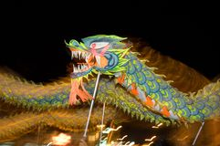 Motion blurr dragon dance. Chinese traditional dragon dance perform in night Royalty Free Stock Photography