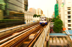 Motion blurred. Of train in bangkok ,Thailand Stock Photo