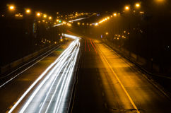 Motion blurred cars lights at night Royalty Free Stock Photography