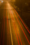 Motion blurred cars lights at night Royalty Free Stock Photos