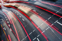 Motion blurred city road traffic Stock Images