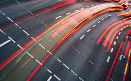 Motion blurred city road traffic Royalty Free Stock Images