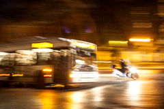 Motion blurred city and traffic in night Royalty Free Stock Photography