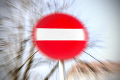 Motion blurred do not enter traffic sign Stock Images