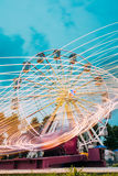 Motion Blurred Of High Speed Rotating Attraction Amusement Park. Royalty Free Stock Photography