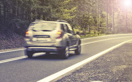 Motion blurred highway in forest Stock Image