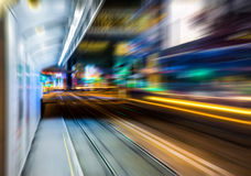 Motion blurred Hong Kong city night scenes for background Stock Photos
