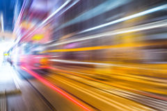 Motion blurred Hong Kong city night scenes for background Royalty Free Stock Image