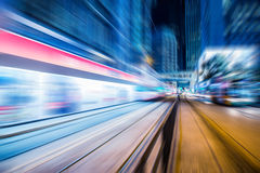 Motion blurred Hong Kong city night scenes for background Royalty Free Stock Photos