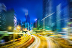 Motion blurred Hong Kong city night scenes for background royalty free stock images