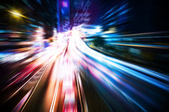 Motion blurred Hong Kong city night scenes for background Stock Photography