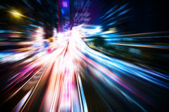 Motion blurred Hong Kong city night scenes for background Royalty Free Stock Photography