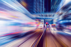 Motion blurred Hong Kong city night scenes for background Royalty Free Stock Photo