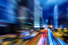 Motion blurred Hong Kong city night scenes for background Stock Photo