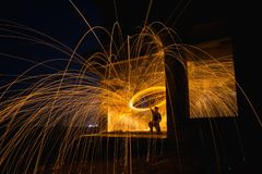Motion blurred of light on night at abandoned house. Stock Image
