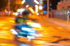 Motion blurred of motorcyclist on the city road at Royalty Free Stock Photography