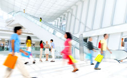 Motion Blurred People in the Shopping Mall.  Stock Photography