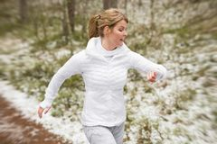 Motion blurred photo of woman running outdoors in winter. Motion blurred photo of young woman running outdoors in winter Royalty Free Stock Photo