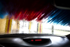 Motion blurred picture of car wash from inside a car during the Royalty Free Stock Image