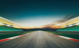 Motion blurred racetrack  . Horizontal format . Royalty Free Stock Images