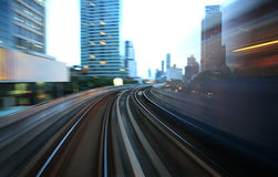 Motion blurred on speeding sky train. Sky train in Bangkok, thailand Stock Photography