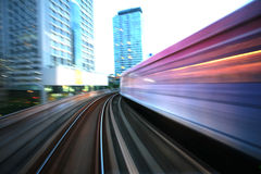 Motion blurred on speeding sky train. Sky train in Bangkok, thailand Royalty Free Stock Photography