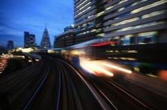 Motion blurred on speeding sky train. Sky train in Bangkok, thailand stock photos