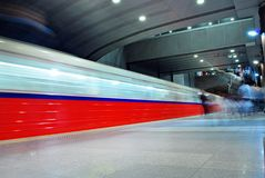 Motion blurred subway train Royalty Free Stock Photography