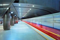 Motion blurred subway train Stock Photo