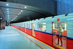 Motion blurred subway train Stock Photography