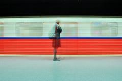 Motion blurred subway train Stock Photos