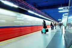 Motion blurred subway train Royalty Free Stock Image