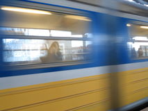 Motion blurred subway train Stock Photo