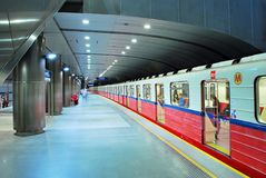 Motion blurred subway train Royalty Free Stock Images
