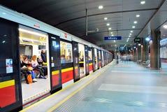 Motion blurred subway train Stock Image
