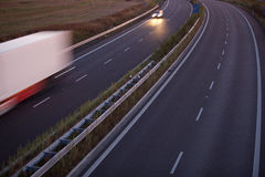 Motion blurred truck on a highway Royalty Free Stock Images