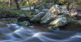 Motion blurred woodland stream Royalty Free Stock Images