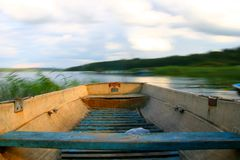 Motion boat. In wild water river Royalty Free Stock Photography