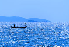 Motion of a boat in a quiet sea. The Motion of a boat in a quiet sea Stock Images