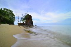 Motion of Bungkuk Beach singkep island Riau stock images