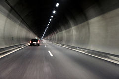 Motion car traffic  in tunnel Royalty Free Stock Image
