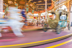 Motion of Carousel Horse for children in amusement park Royalty Free Stock Images