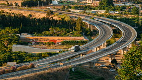 Motion Cars On Highway Near Mijas In Spain, Europe Royalty Free Stock Photography