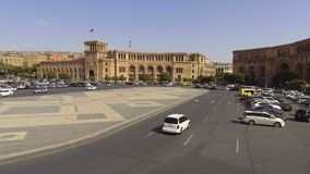 Daily motion of cars on Republic square of Yerevan, Armenia, view of Government. Stock footage stock video footage